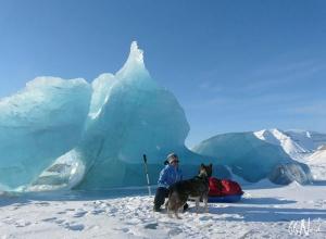 Devant un iceberg pris dans la banquise au Svalbard, circuit raquettes au printemps ©Aurélie Trincal