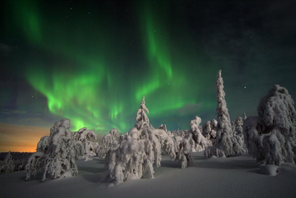 aurores boréales en laponie, finlande