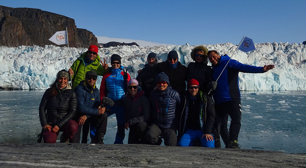 Groupe Aventure Hustive à Texas Bar, Nord du Svalbard ©Romain