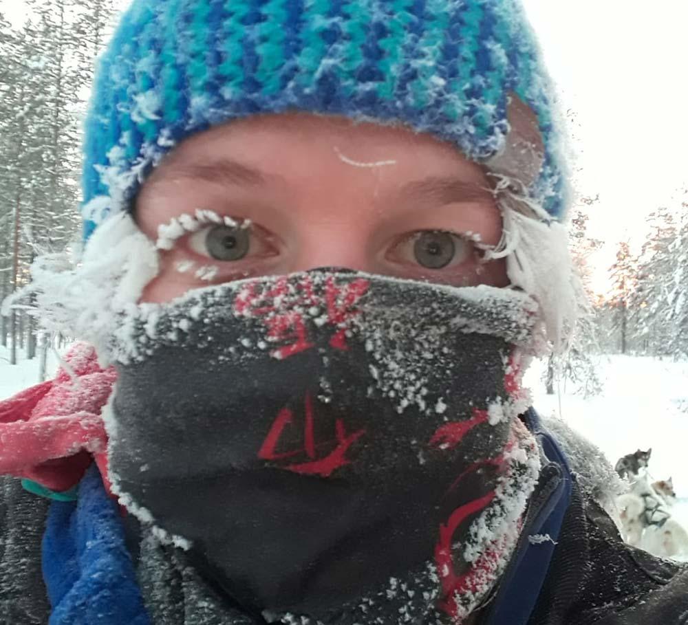 Maud Devouassoux, guide 66°Nord en Finlande. Température : -38°C ©Maud Devouassoux