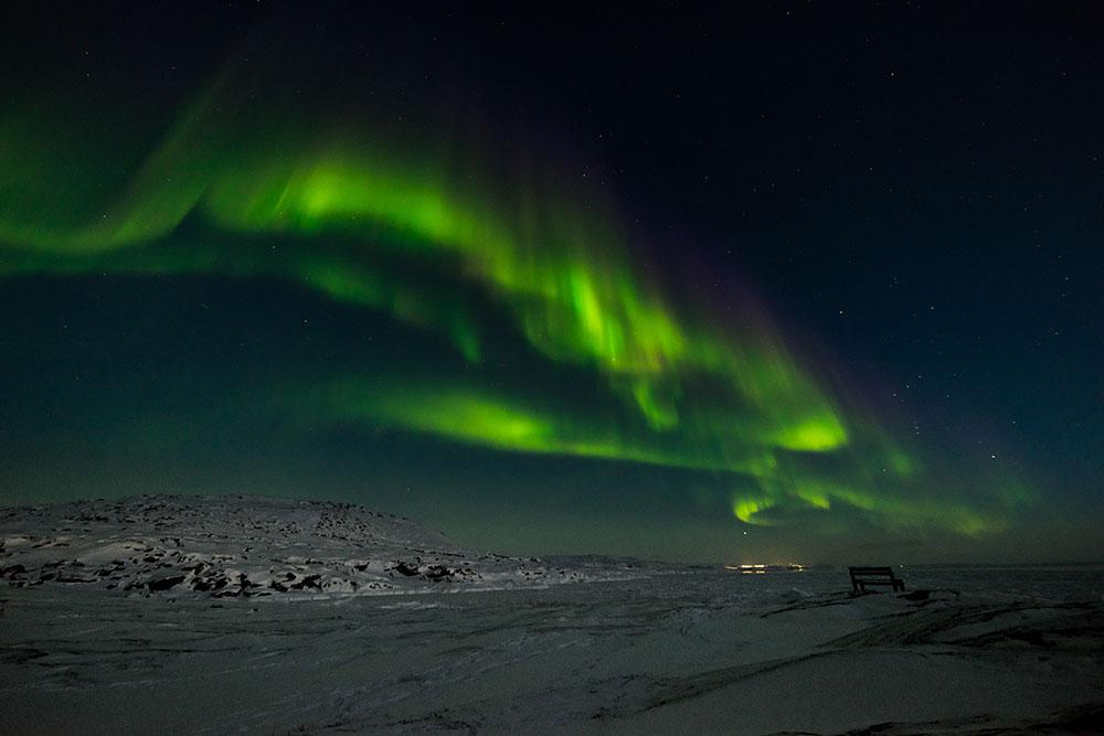 Aurores boréales au Groenland. Crédit photo : Julien Million, voyageur 66°Nord