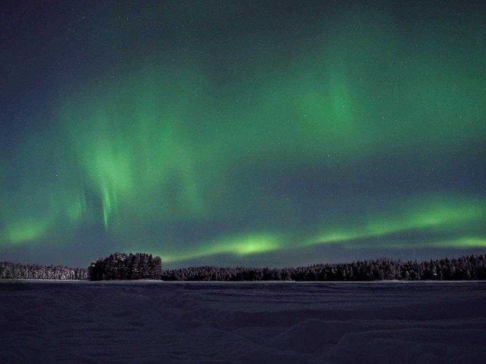 Lumières du Nord en Laponie finlandaise. Crédit : Charles Ariza, guide 66°Nord