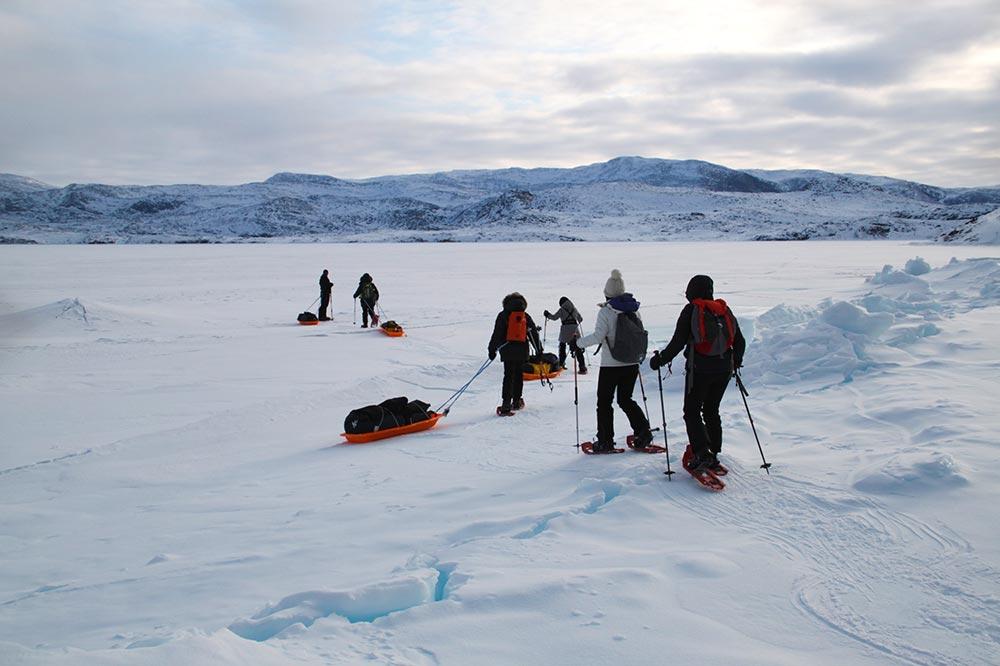 Raid raquettes à neige au Groenland l'hiver